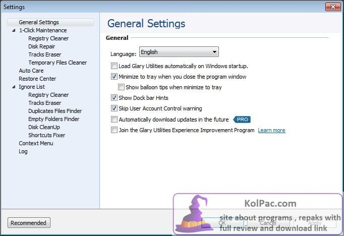 Glary Utilities Pro settings