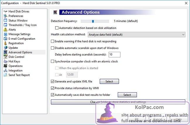 Hard Disk Sentinel Pro settings