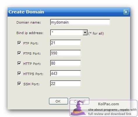 Wing FTP Serversettings