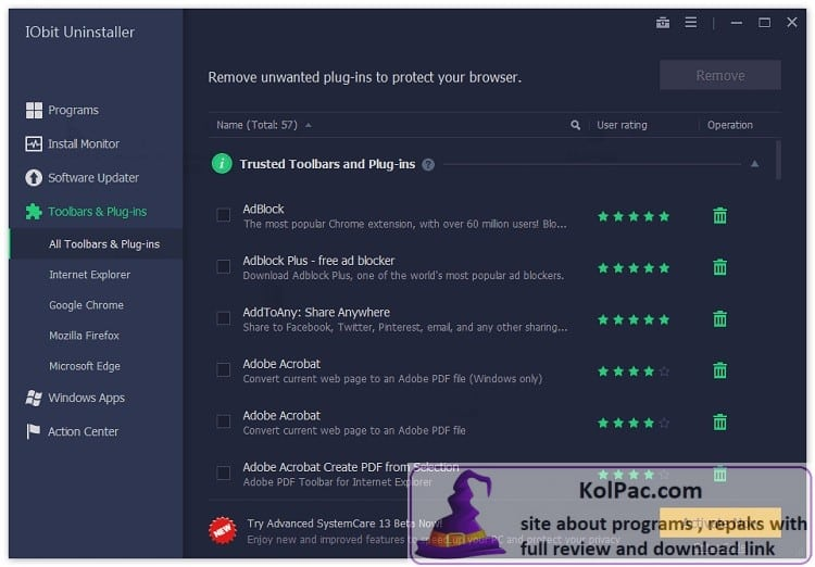 IObit Uninstaller Pro settings