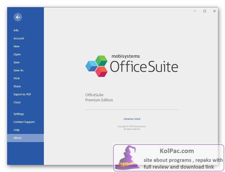 OfficeSuite Premium Edition settings