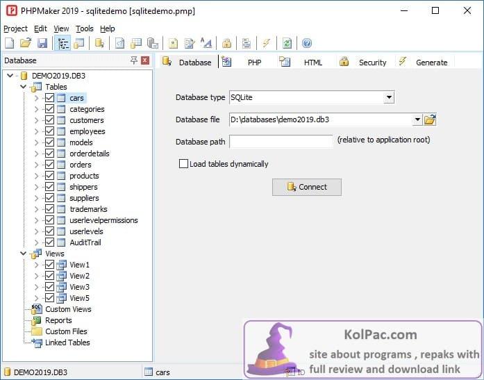 e-World Tech PHPMaker settings