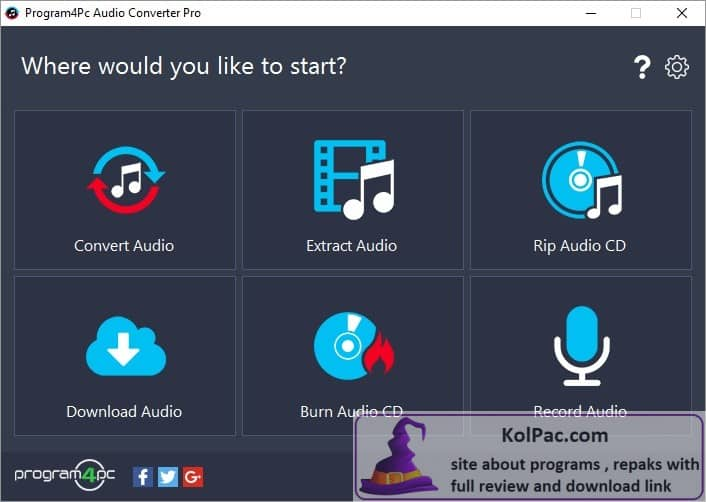 Program4Pc Audio Converter Pro settings