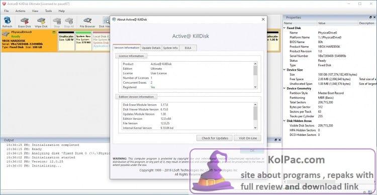 Active KillDisk Ultimate settings