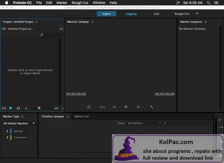 Adobe Prelude settings