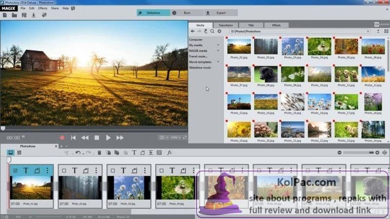 MAGIX Photostory 2022 Deluxe settings