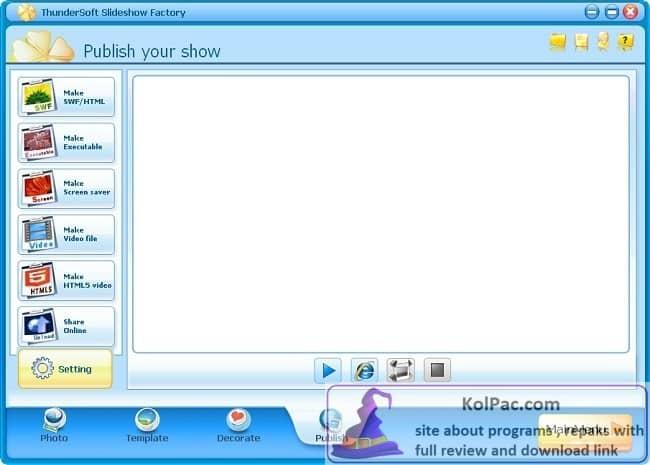 ThunderSoft Slideshow Factory settings